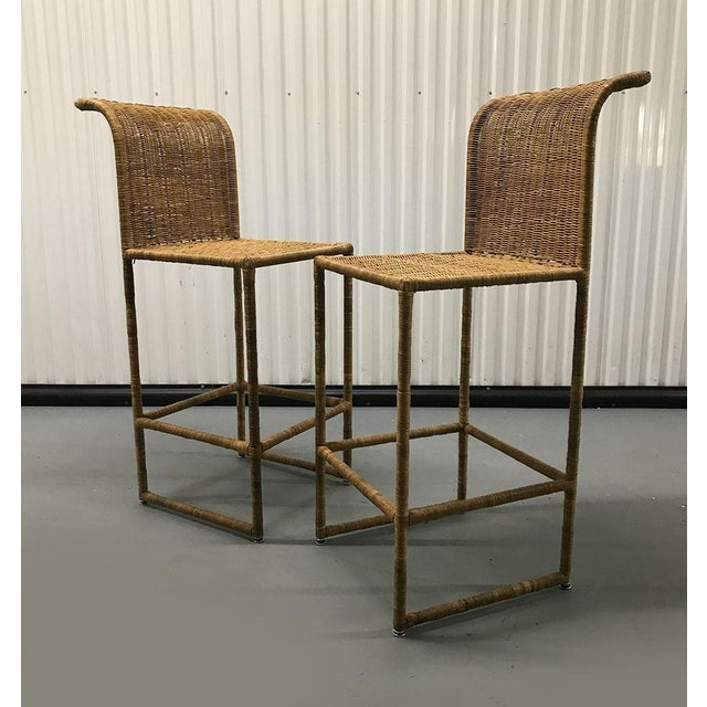 Mid-Century Modern Rattan Bar Stools - a Pair For Sale In Atlanta - Image 6 of 13