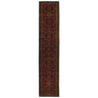 Antique Persian Heriz Runner with Modern Tribal Style in Traditional Colors