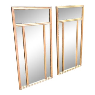 Hollywood Regency Multi-Pane Wall Mirrors with Gold Bamboo Frames - a Pair For Sale