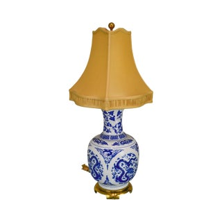 Paul Hanson Asian Inspired Blue & White Porcelain Vase Lamp For Sale