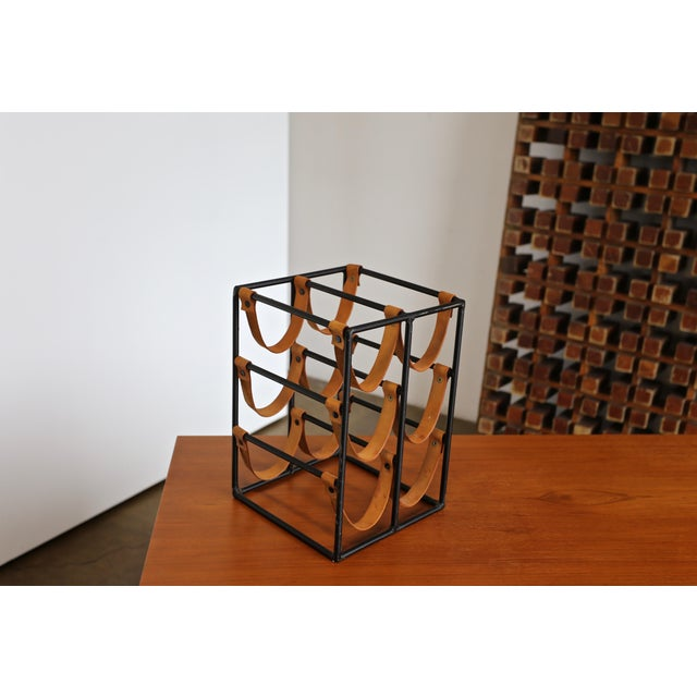Animal Skin 1955 Arthur Umanoff Iron and Leather Straps Wine Rack For Sale - Image 7 of 9