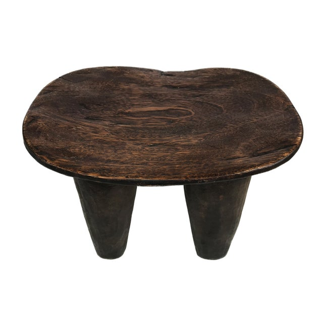 """Wood African Old Senufo Wood Milk Stool I . Coast 12"""" W by 8"""" H For Sale - Image 7 of 7"""