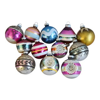 Midcentury Colorful Christmas Tree Ornaments W/Box - Set of 12 For Sale