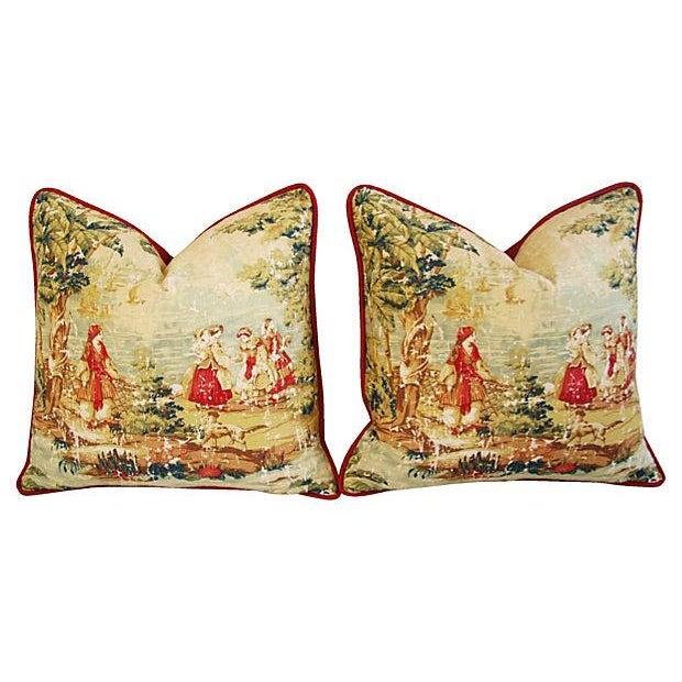 Designer Renaissance Toile Linen Pillows - A Pair - Image 1 of 8