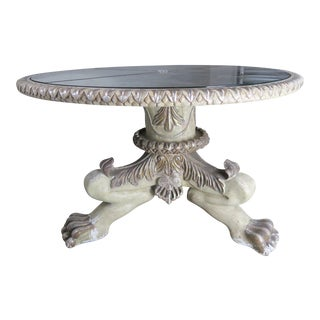 Tripod Lion Paw Table Base With Mirrored Top by Mla For Sale