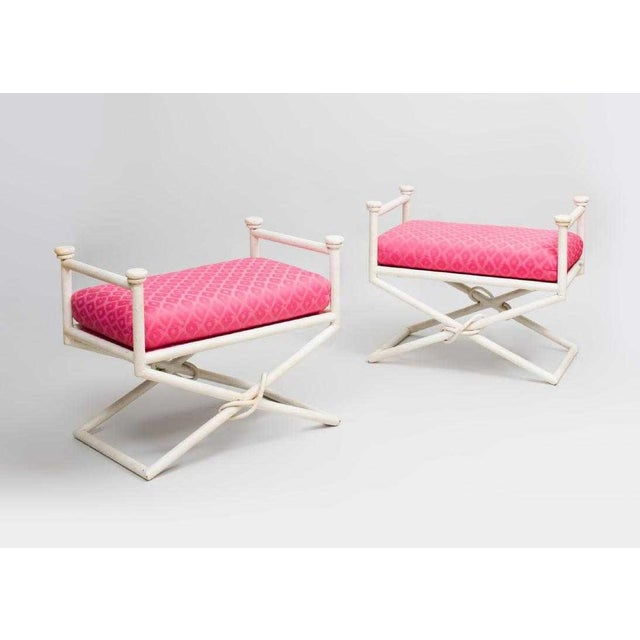 1980s Pair Hollywood Regency X-Base Benches For Sale - Image 5 of 5