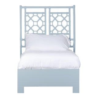 Lattice Back Bed Twin Extra Long - Blue For Sale