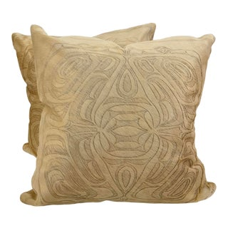 """Etched """"Paul"""" Hair on Hide Pillows - a Pair For Sale"""
