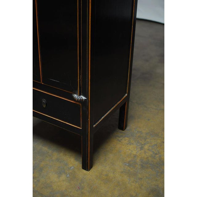 Chinese Tall Black Lacquer Cabinet For Sale - Image 5 of 6