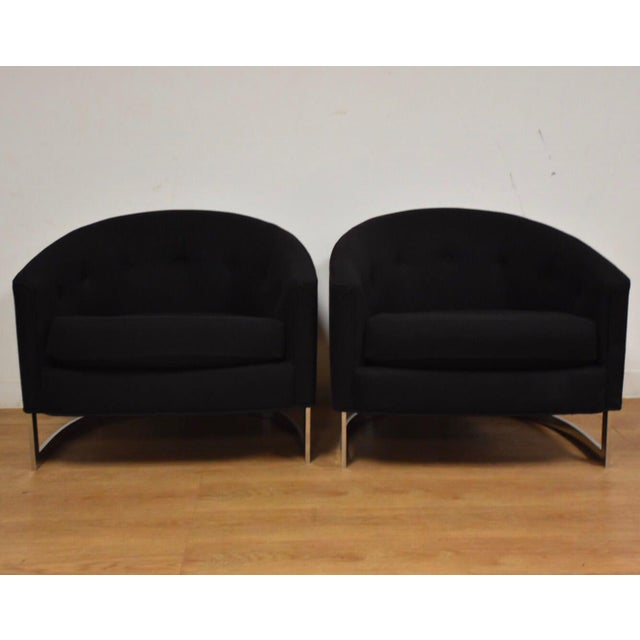 Mid-Century Modern Black & Chrome Barrel Back Lounge Chairs- a Pair For Sale - Image 3 of 11