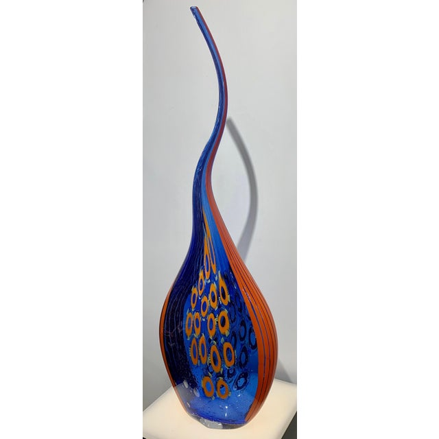 Contemporary Dona Modern Art Glass Blue and Orange Sculpture Vase With Red and Yellow Murrine For Sale - Image 3 of 12
