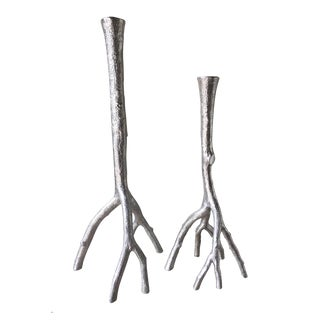 Michael Aram Polished Silver Branch Candlesticks - A Pair