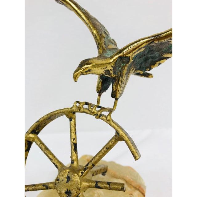 Gold Brass Eagle on Wheel Quartz Statuette For Sale - Image 8 of 12