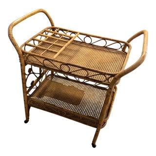 Vintage Bamboo Drink Cart For Sale