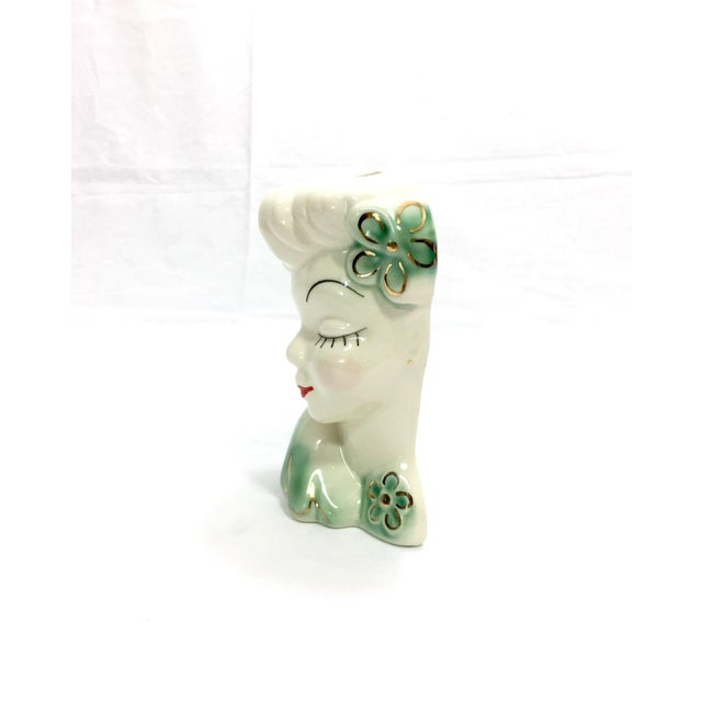 1950's Vintage Mid Century Girl Head Vase or Wall Pocket For Sale - Image 4 of 10