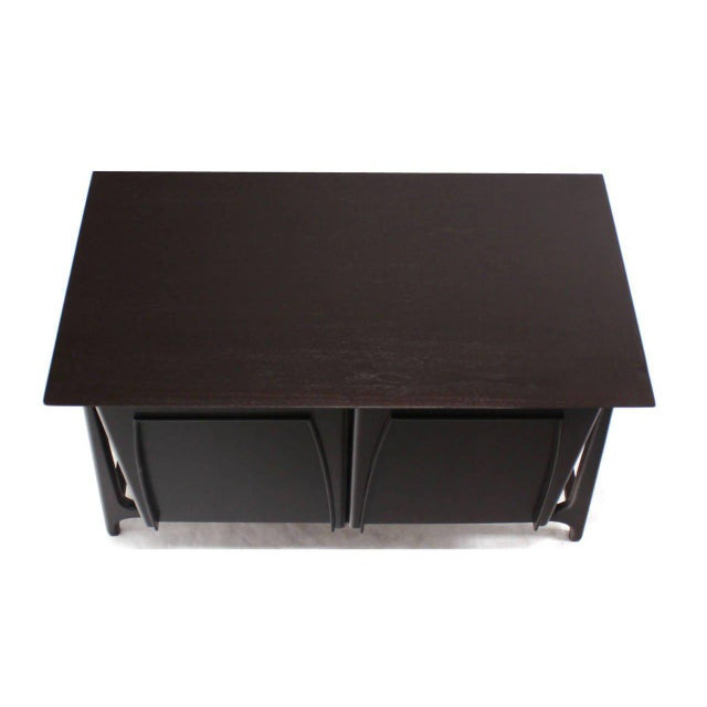 Two-Door Sculptural Exposed Leg Ebonized Server Three-Drawer Bachelor Chest For Sale - Image 4 of 8