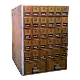Antique Brass Post Office Box Unit-27 Drawer