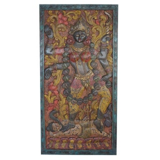 Indian Goddess Maa Kali Shakti Hand Carved Panel Indian Wall Sculpture Barndoor For Sale