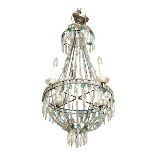 19th Century Turquoise and Emerald Crystal Chandelier For Sale