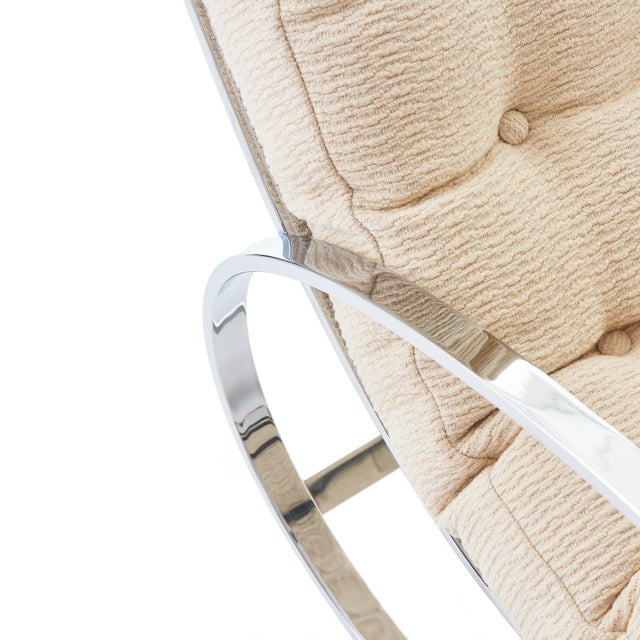 White Mid Century Modern Renato Zevi for Selig 'Ellipse' Chrome Rocking Chair For Sale - Image 8 of 9