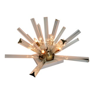 Venini Mid-Century Modern Italian Murano Glass & Brass Sputnik Table Lamp--Italy Venetian Art Deco Boho Chic Hollywood Regency