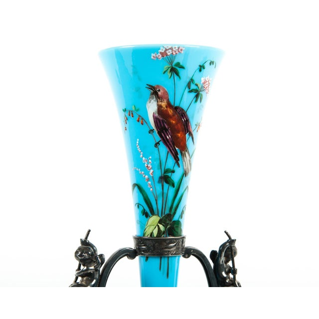 Antique hand-painted vase with silver plated detachable base holder. This piece would bring a great addition to any space....