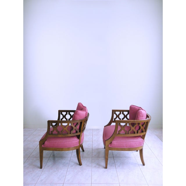 Pink Mid Century Pink Lattice Back Barrel Chairs After William Billy Haines - a Pair For Sale - Image 8 of 9