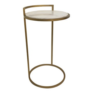 White Marble & Golden Accent Table