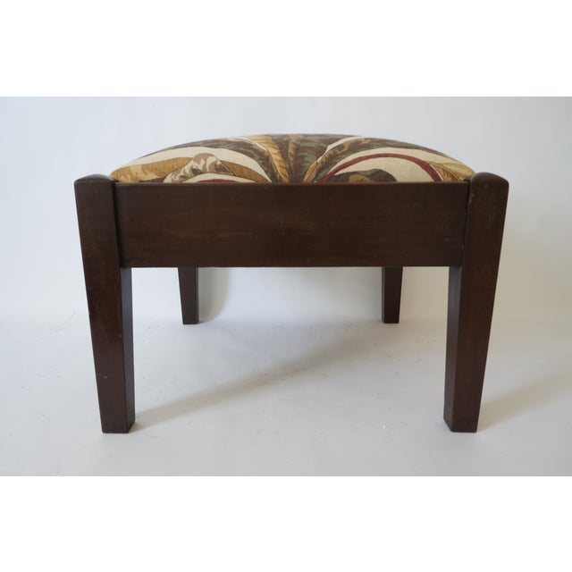 Mid-Century Footstool Low Bench Mahogany With Palm Frond Motif Upholstery from a Palm Beach estate Please note the last...