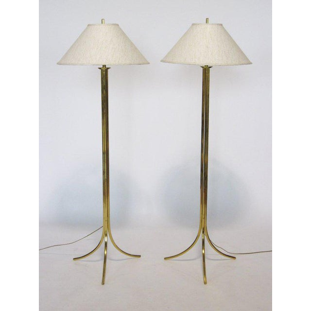 Hollywood Regency Brass Floor Lamps by Lang-Levin For Sale - Image 3 of 10