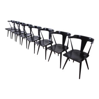 Paul McCobb Planner Group T-Back Black Lacquered Solid Maple Dining Chairs, Set of Eight For Sale