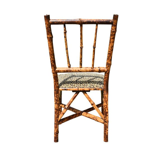 English Chinoiserie Small English Children's Burnt Tortoise Bamboo Upholstered Leopard Print Chair For Sale - Image 3 of 10
