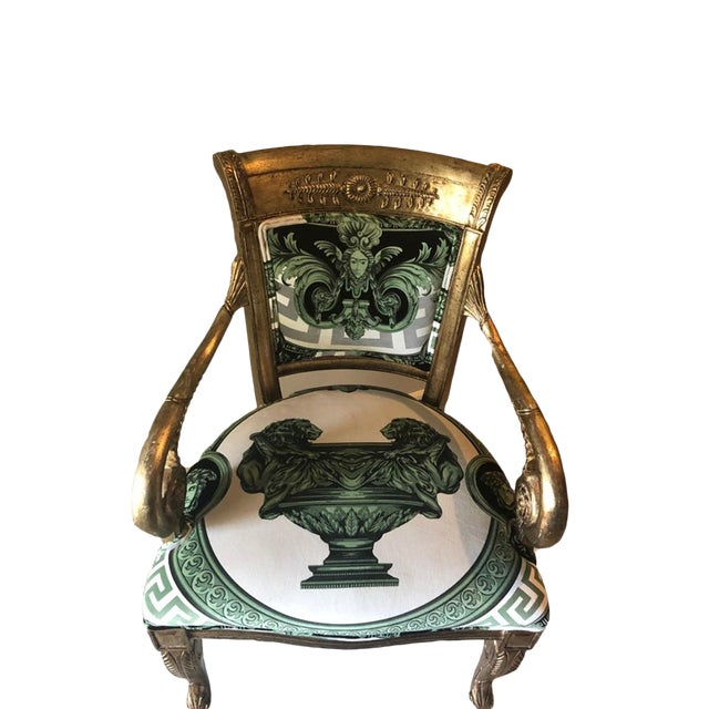 Custom Fabric Accent Chairs.Modern Custom Made Gianni Versace Fabric Accent Chair
