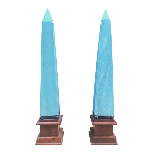 Vintage Neoclassical Seafoam Green Stone Obelisks -A Pair For Sale
