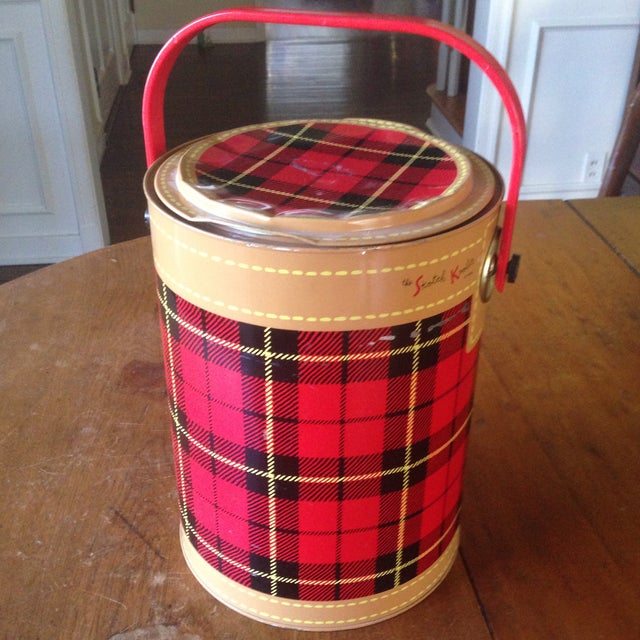 Mid Century Metal Plaid Cooler/Ice Bucket - Image 10 of 11