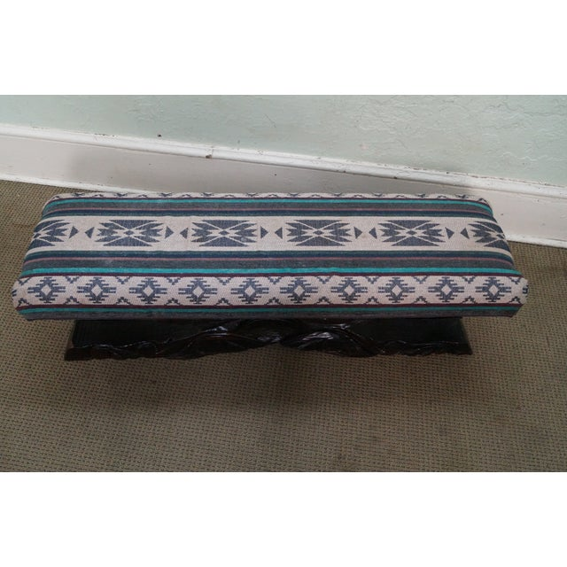 Witco Tiki Elvis Jungle Room Carved Redwood Bench For Sale - Image 4 of 10