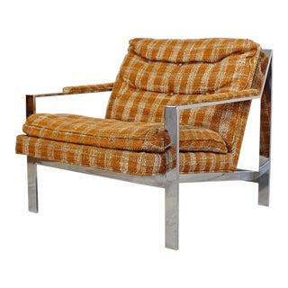 1970s Cy Mann Mid-Century Modern Flatbar Chrome Lounge Chair