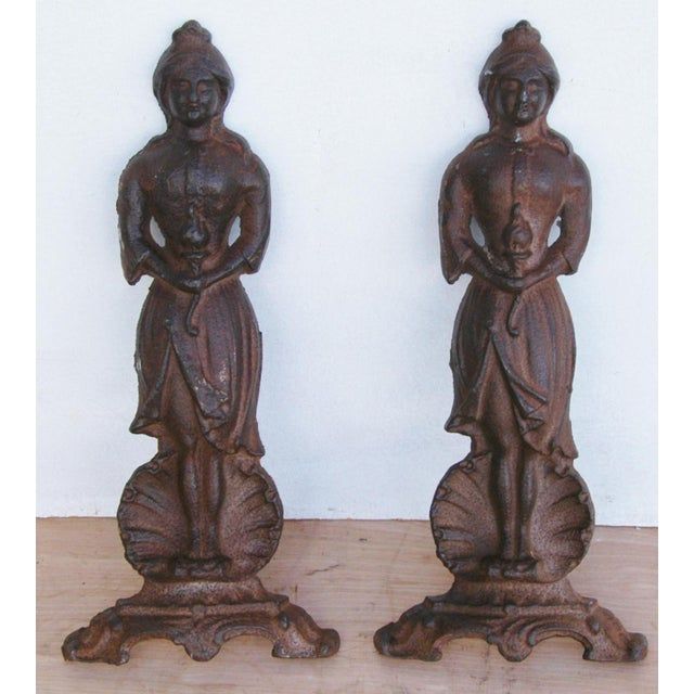 Vintage Cast Iron Lady Fireplace Andirons - Pair For Sale - Image 10 of 11