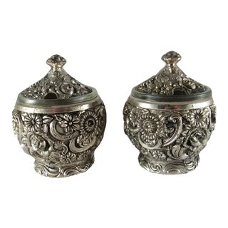 1950s Harrison Fisher Silver Plated Jam & Jelly Pots With Glass Liners - a Pair For Sale