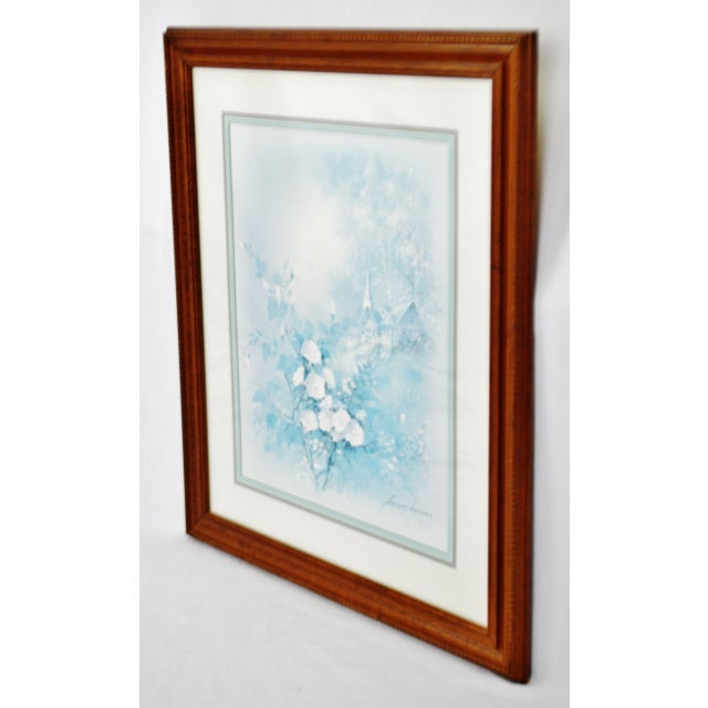 Traditional Vintage Framed Andres Orpinas Blue Monochromatic Landscape Print For Sale - Image 3 of 13
