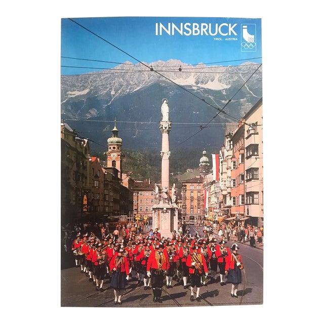 "Rare Vintage 1976 "" Innsbruck Tirol Olympics Winter Games "" Lithograph Print Austria Travel Poster For Sale"