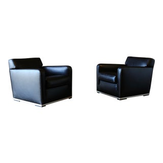 "Antonio Citterio "" Apta "" Leather Lounge Chairs for Maxalto B&b Italia- A Pair For Sale"