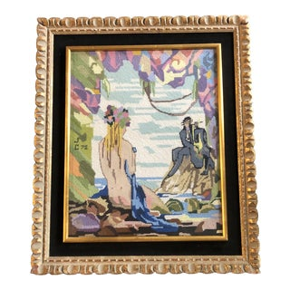 Original 1970's Vintage Hand Done Needlepoint Painting Female Nude With Artist For Sale