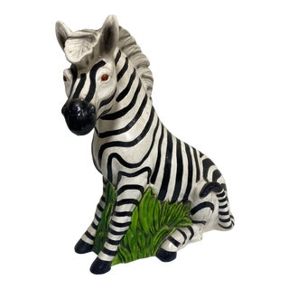 Vintage Hollywood Regency Resin Zebra Sculpture For Sale