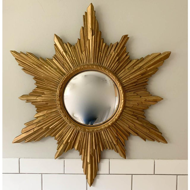 Gold Mid Century Convex, Starburst Mirror For Sale - Image 8 of 8