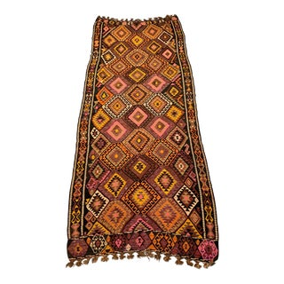 1980s Vintage Handmade Wool Kilim Rug From Turkey - 4′9″ × 11′8″ For Sale