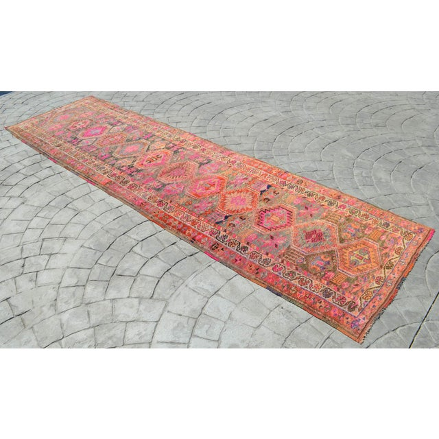 Offered is a matchless Kurdish runner rug, made in Anatolia approximately 100-110 years ago. The beautiful wool on wool...