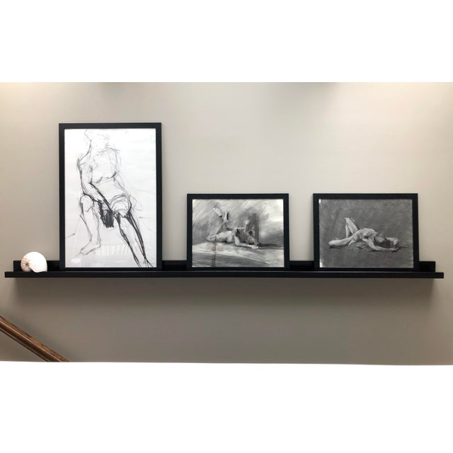 """2020s """"Seated Shifting Figure"""", by Artist David O. Smith - Scale Contemporary Figure Drawing in Charcoal For Sale - Image 5 of 12"""