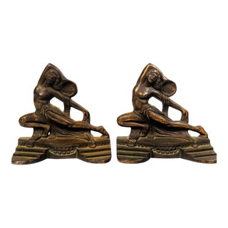 1926 Art Deco Bronze Dancing Nude Women With Tambourines Bookends - a Pair For Sale