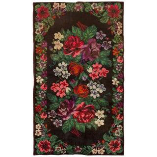 Vintage Swedish Floral Rug - 4′1″ × 6′9″ For Sale
